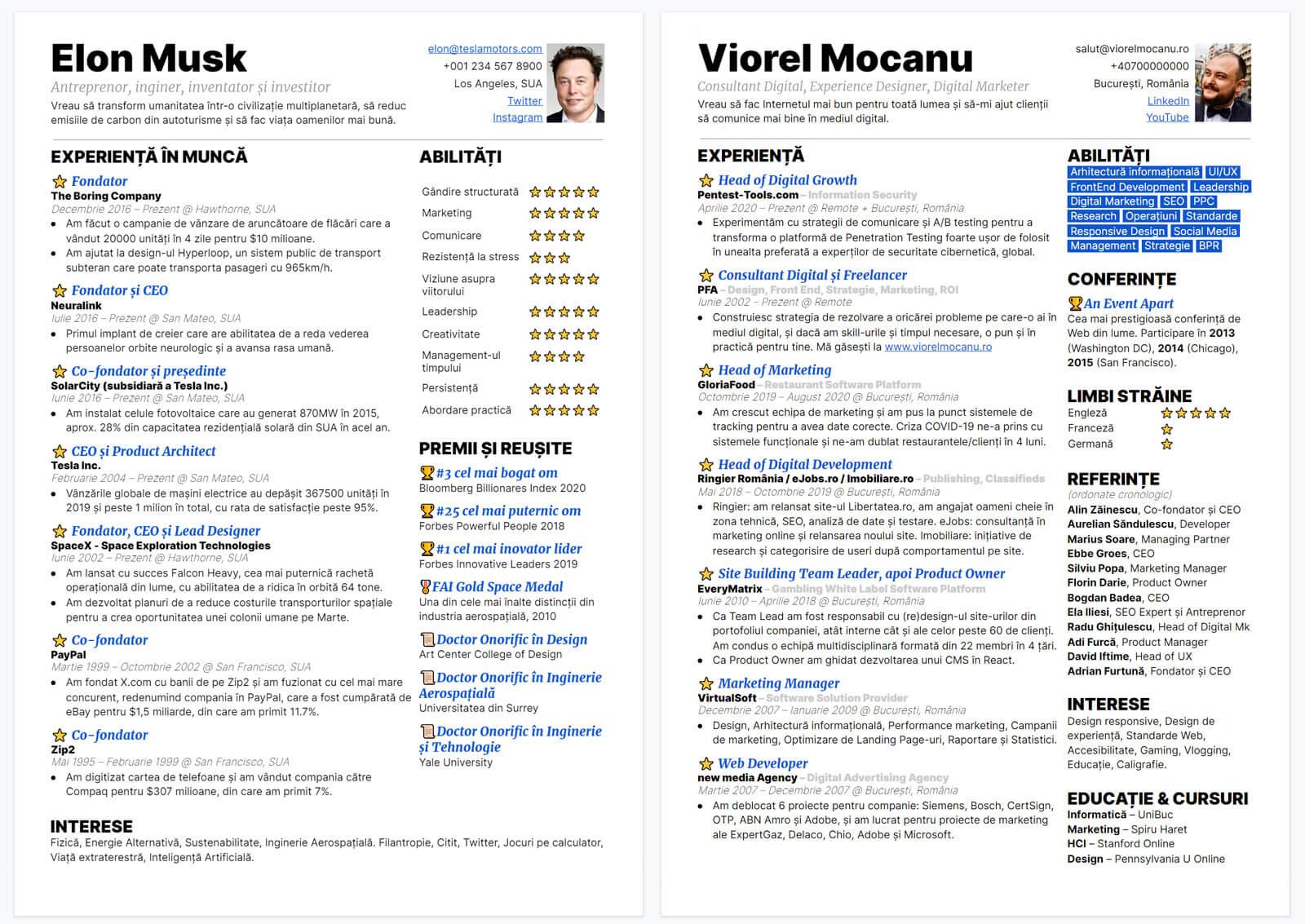CV-ul ipotetic al lui Elon Musk și CV-ul realistic al lui Viorel Mocanu