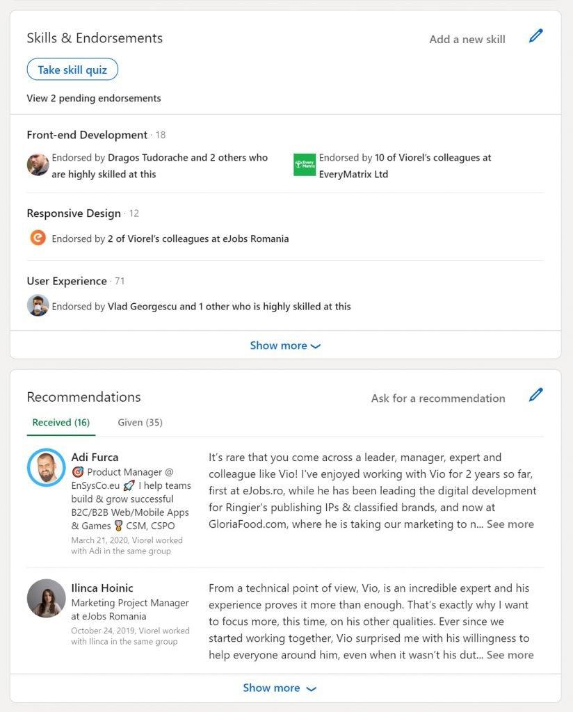 Exemplu de evaluări pe skill-uri și recomandări - dovezi sociale de pe LinkedIn-ul lui Viorel Mocanu