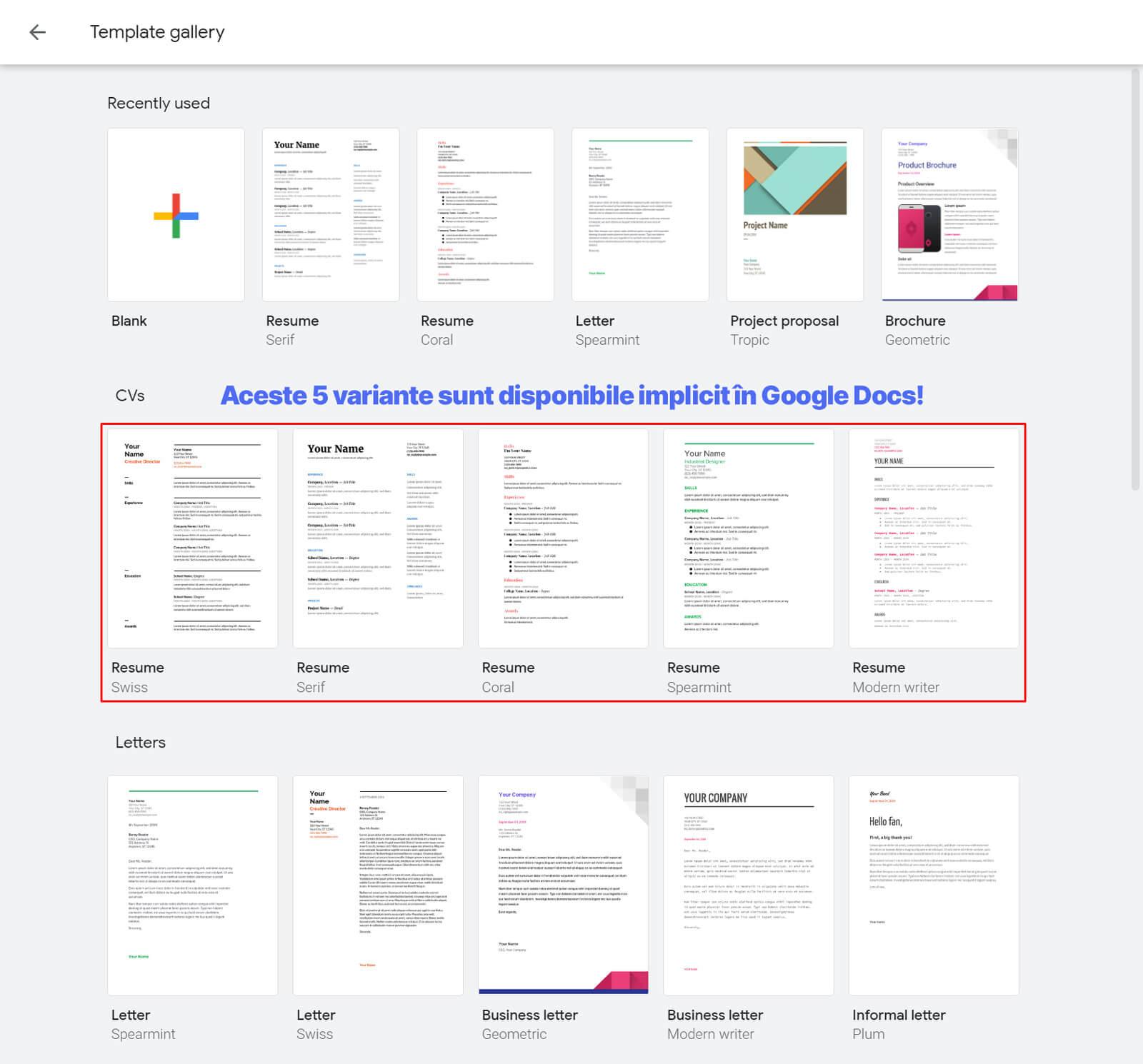 Modele implicite de CV-uri în Google Docs