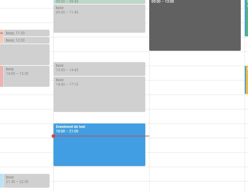 Așa arată un eveniment de Google Calendar care e în desfășurare.