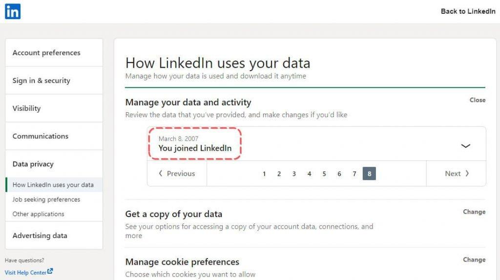 Mi-am făcut contul pe LinkedIn încă din 8 martie 2007.