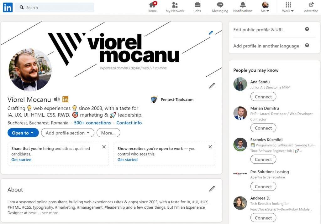 Așa arată profilul meu de LinkedIn astăzi. Faptul că am un brand personal e foarte vizibil datorită imaginii de cover, iar poza de profil e un portret dintr-un moment fericit.